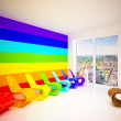 Stock Photo: Lounge room in rainbow colors