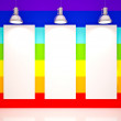 Banner on in rainbow colors wall with lamps — Stock Photo