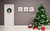 Christmas Empty interior with door & tree — Stock Photo