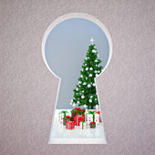 Christmas keyhole — Stock Photo