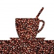 Cup of coffee and coffee-beans — Stock Photo