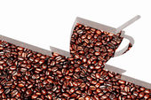 Cup of coffee and coffee-beans — Foto de Stock