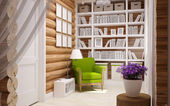 Wooden house interior — Stock Photo