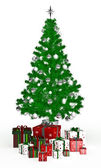 Gift boxes under Christmas tree on white — Foto de Stock