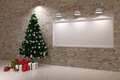 Cristmas Banner on wall — Stock Photo