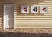 Dřevěný vánoční interiér — Stock fotografie