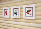 Wooden Christmas interior — Foto de Stock