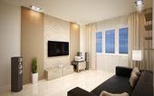 Interior Design. Modern living room — Stock Photo