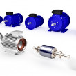 Set of different industrial electric motors — Stock Photo #38398687