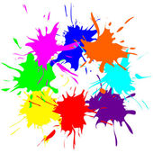 Colored splashes in abstract shape — Stock Vector