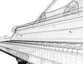 Antique grand Piano with path — Stockfoto