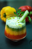 Three-color coctail with celery — Stock Photo