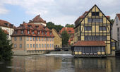 Houses on the river Regnitz, Bamberg, Germany — Stock Photo