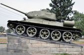 Battle Tank, which has become a monument. — Stock Photo