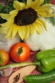 Zelenina a slunečnice. — Stock fotografie