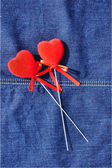 Hearts on jeans. — Stock Photo