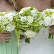 Bridesmaids in green with wedding bouquet — Stock Photo #13614985