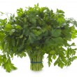 Bunch of flat leaved parsley isolated on a white background — Stock Photo