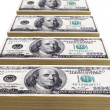 Stacks of one hundred dollar bills — Stock Photo #15652095