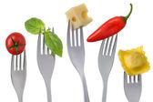Hälsosam mat på vit — Stockfoto