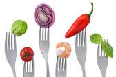 Healthy pescetarian food on white — Stock Photo