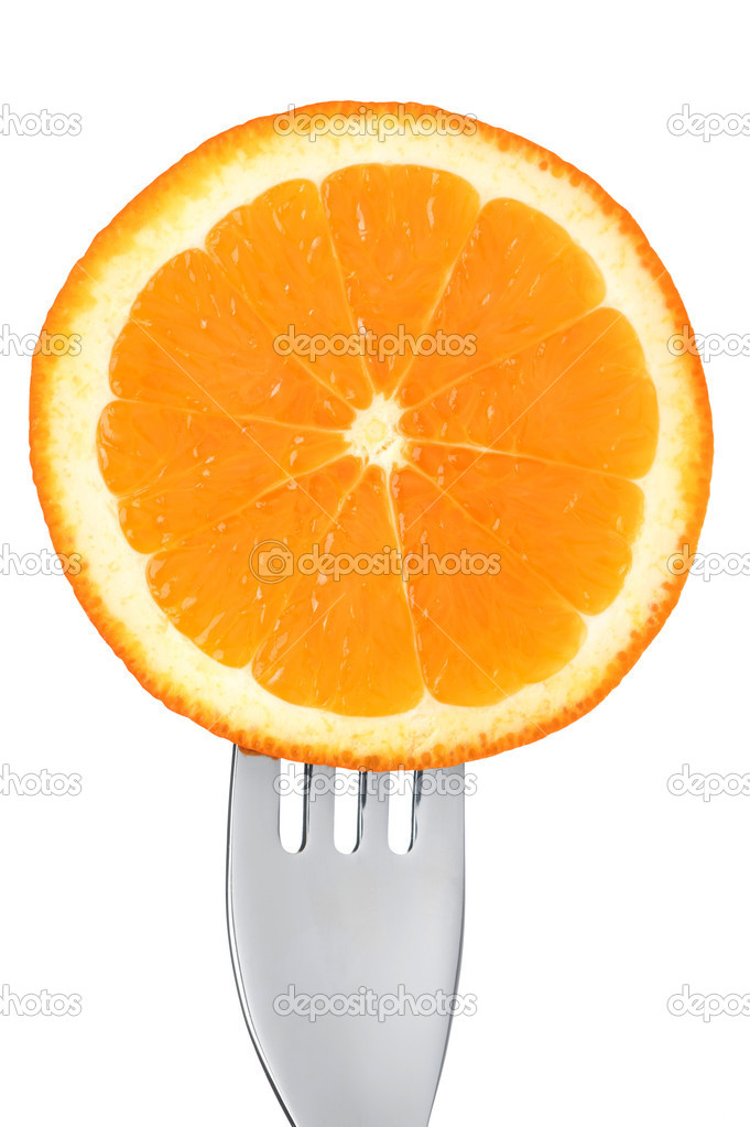 Fresh orange slice on a fork isolated against white background — Stock Photo #18433987