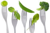 Healthy raw green food on white — Stock Photo