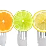 Orange lemon lime fruit slices — Stock Photo