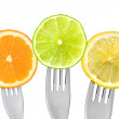 Stock Photo: Orange lime and lemon slices isolated
