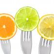 Orange lime and lemon slices isolated — Stock Photo