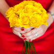 Yellow bouquet of roses — Stock Photo