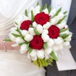 Red rose and white tulip wedding bouquet — Stock Photo #23622159