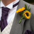 Groom with sunflower buttonhole — Stock Photo