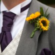 Stock Photo: Groom with sunflower buttonhole