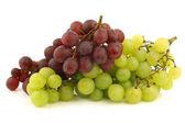 свежий красный и белый бессемянный виноград на лозе — Стоковое фото