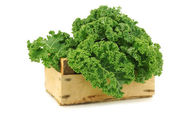 Freshly harvested kale cabbage in a wooden crate — Stock Photo