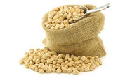 Dried chick peas in a burlap bag — Stock Photo