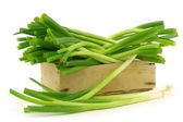 Bunch of green onions in a wooden crate — Stock Photo