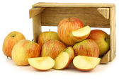 "Fresh ""Fuji"" apples in a wooden crate — Stock Photo"