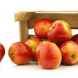 "Fresh Dutch ""Jazz"" apples in a wooden crate — Stock Photo"