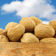 A bunch of walnuts in a wooden crate - Photo
