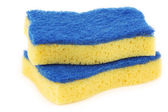 Yellow and blue abrasive pads — Stok fotoğraf