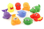Colorful collection of bathing toys — Stock Photo