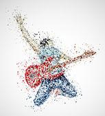 抽象的吉他弹奏者 — 图库矢量图片
