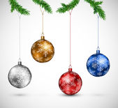 Christmas balls hanging — Vector de stock