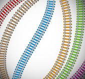 Fondo con rieles coloridos — Vector de stock