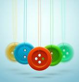 Coser botones — Vector de stock