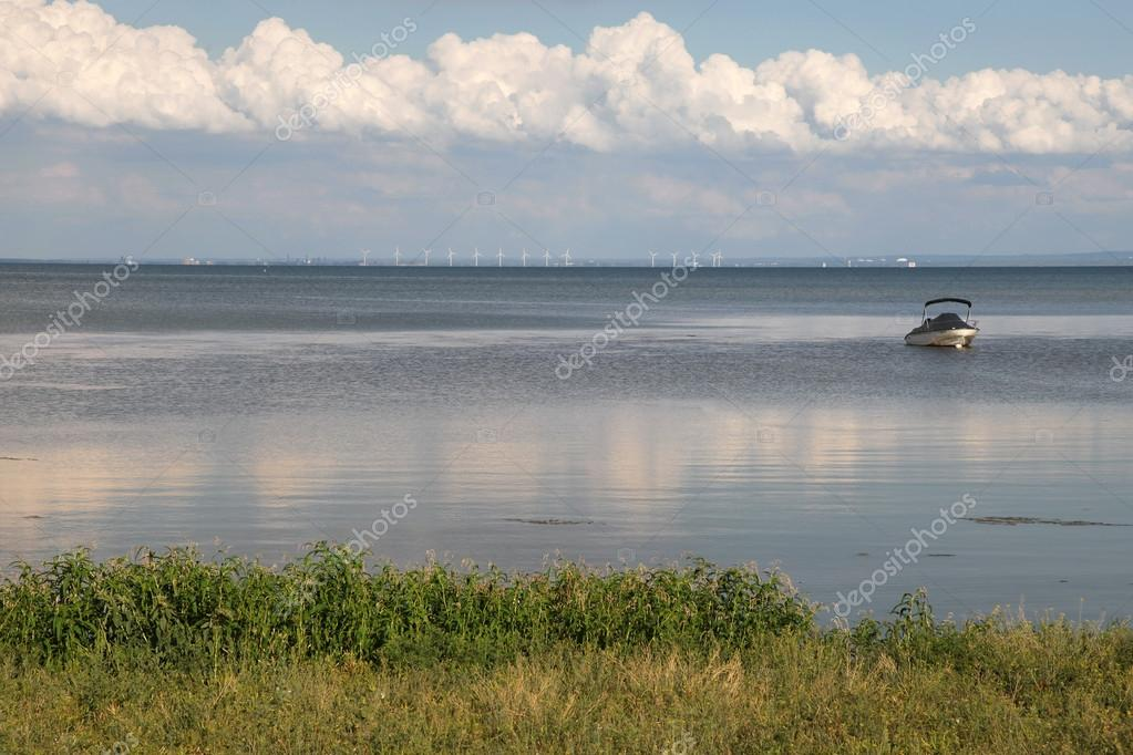 The view of the wind turbines on the lake shore  Stock Photo #12723746