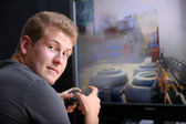 Playing Video Game — Stock Photo