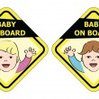 Stock Vector: Baby on board - message sign